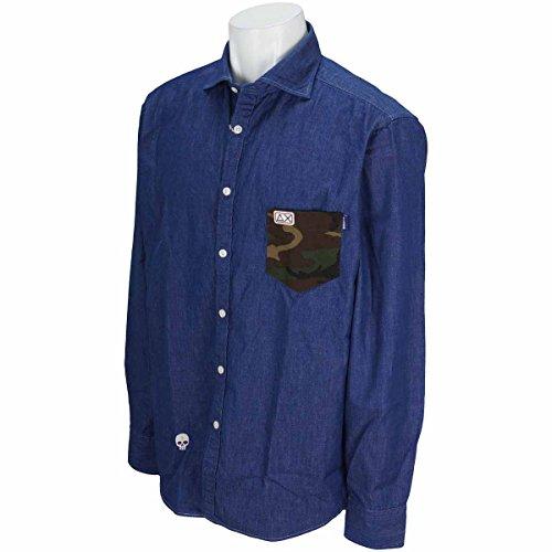 サンシックスティエイト SUN68 長袖シャツ?ポロシャツ 衿裏 ポケットカモフラージュデニム長袖シャツ