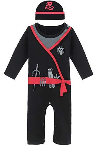 COSLAND Baby Boys' Halloween Costume Ninja Romper with Hat (Ninja, 12-18 -