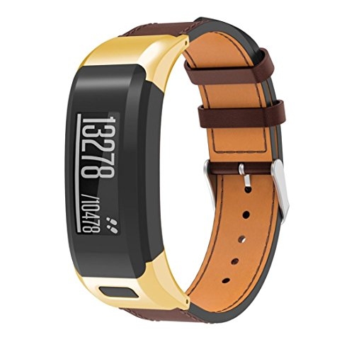 Tiean For Garmin VIVOsmart HR, Luxury Leather Replacement Wrist Watch Band Strap (Gold) by Tiean