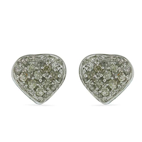 .925 Sterling Silver Earrings For Women Small Gift Heart Studs Micro Pave Set Natural Round Cut Diamond 1/20 Cttw