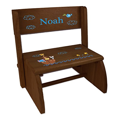 Personalized Noahs Ark Childrens and Toddlers Espresso Folding Stool - Noahs Ark Storage Stool