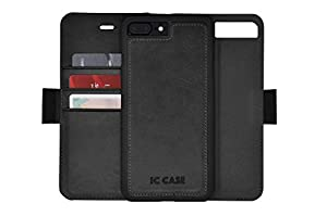 IC CASE Iphone 7 & 8 Wallet Case with Detachable SlimCase, Genuine Leather, RFID Protection, H/V Stands, Gift Box