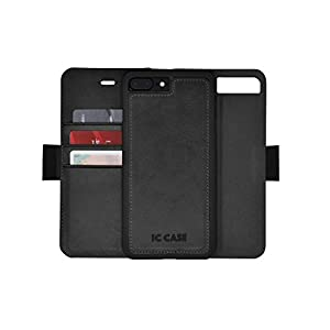 IC CASE Iphone 7 Plus Wallet Case with Detachable SlimCase, Genuine Leather, RFID Protection, H/V Stands, Gift Box - Black