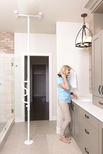 Stander Security Pole & Curve Grab Bar - Elderly Tension Mounted Transfer Pole + Bathroom Assist Grab Bar - Iceberg White by Stander (Image #10)'