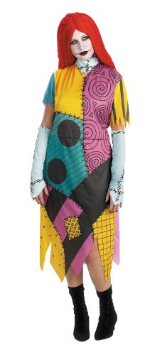Sally Dress (Disguise Women's Disney Nightmare Before Christmas Sally Classic Costume, Yellow/ Red/ Black/ Green, X-Large)