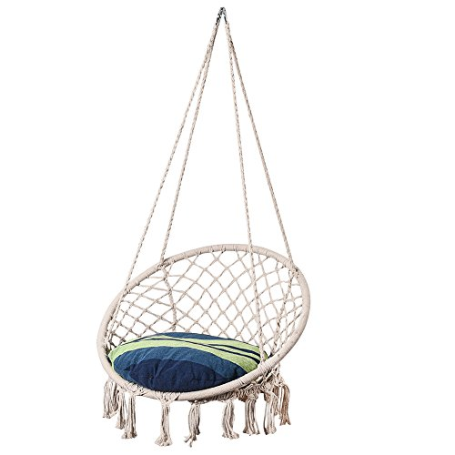 Lazy Daze Hammocks Handwoven Cotton Rope Hammock Chair Macrame Swing with Cushion and Wall/Ceiling Mount Set, 300 Pounds Capacity, for Indoor, Garden, Patio, Yard (Oasis Stripe)