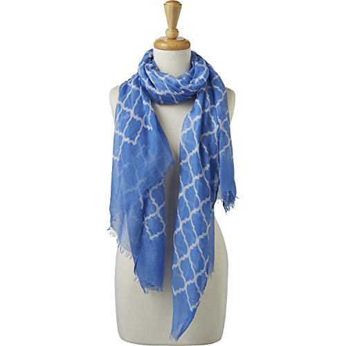 Tickled Pink Women's Vibrant Royal Lightweight Oblong Scarf, Light Blue & White, One Size