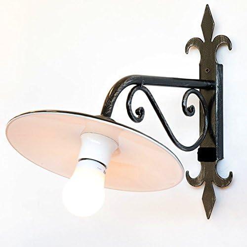 Lampada da parete in ferro battuto con piatto smaltato Forgiato a mano 37 cm
