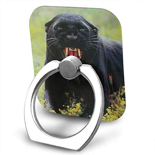 Wild Pedestal Metal Rose (Snarling Black Panther (Leopard) Wildlife Animal Phone Finger Ring 360 Degree Rotation Foldable Set Compatible with Most of Smartphones Tablet and Case Sold)