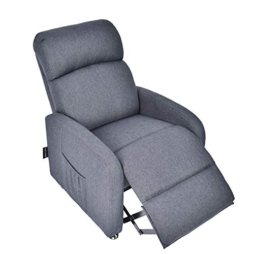 YOURLITEAMZ Contemporary kid's Recliner Armchair with Storage Pocket, Children Sofa Chair with Lockable Wheels for Boys & Girls (Grey) ()