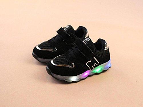 Huhu833 Kinder Schuhe Kleinkind Kinder Mesh Schuhe Kinder Baby Schuhe LED Leuchten Leuchtende Turnschuhe Schwarz