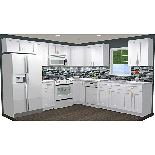 10x10 Kitchen Wall and Sink Base Wood Cabinets Complete Set Ready to Assemble (RTA), White Shaker Elite