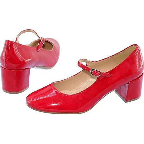 En Rouge Fabriqué Souples Confortables Marque Vernis Soline Maria Cuir Jaen À Femme Chaussures Pour Talon Jean Babies Carré Espagne Et 7HfOgxwq