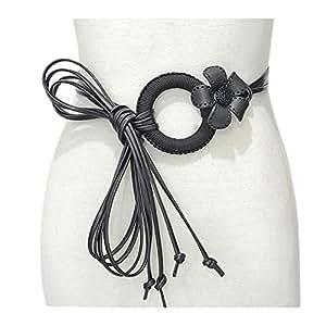 New flower decorative thin belt Women's thin waist chain (Color : Black, Size : 80-100cm)