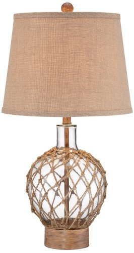 Rope and Glass Jug Table Lamp (Glass Wood Table Lamp)