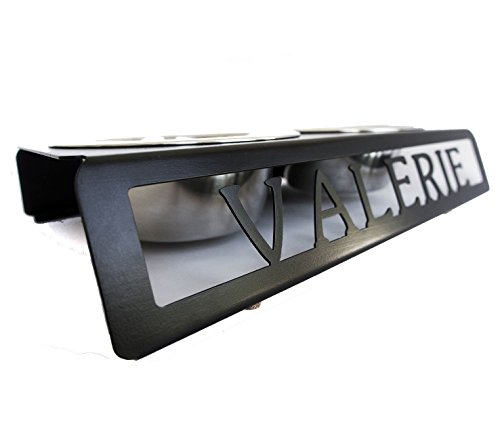 """Personalized Dog Bowl Stand (2 Bowls - 1 Quart Each) - Raises Bowls 3.5"""" - Suitable for Small to Medium Breeds - Custom Steel Pet Accessory - Powder Coated 20% Gloss Black Finish - Handmade in America"""