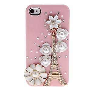 HOR Golden Diamond Torre Eiffel y flores cubiertos estuche rígido con el pegamento del clavo para el iPhone 4/4S (colores surtidos) , Amarillo