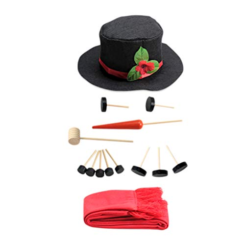 TOYMYTOY 16 Pieces Snowman Decorating Kit,Snowman Making Dressing Kits Hat Scarf Eyes Mouth Button Nose Accessories