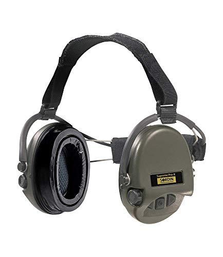 Sordin Supreme PRO X Neckband Safety Ear Muffs - with Gel Seal Hygiene Kit - Gel Ear Cups SNR: 25dB - Green - 76302-X-10 ()