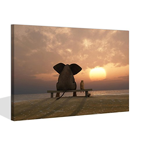 Visual Art Decor Modern Animal Painting Prints on Canvas Old Days Friends Elephant and Dog Sit at Beach Watch the Sunset Framed and Stretched Ready to Hang (Sunset Sea, 16