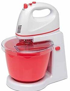 Handmixer Set Rührgerät Teigmaschine mit rotierender Rührschüssel 300W rot