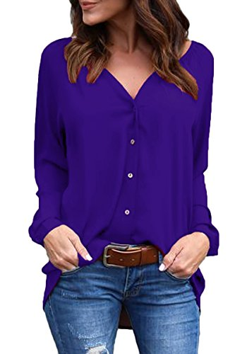 Sunfury Sexy Plus Size V Neck High Low Cardigans for Women CuffsLong Sleeve Button Up Blouse Solid Color Tops Sapphire Blue XX-Large (Sapphire Solid Color)