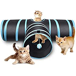 Pet Soft Cat Tunnel Collapsible Pet Toy Cat Tunnels with Ball for Rabbits,Puppy,Cat and Kitten (T - Shaped)