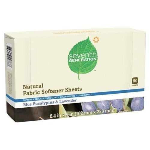 Seventh Generation Natural Fabric Softener Sheets Blue Eucalyptus and Lavender, Pack of 24 by Seventh Generation (Image #1)