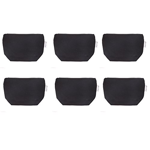 Zipper Coin Vinyl (Augbunny 100% Cotton 12oz Canvas Zipper Cosmetic Makeup Jewlery Pouch Coin Cash Purse Change Holder 6-pack)