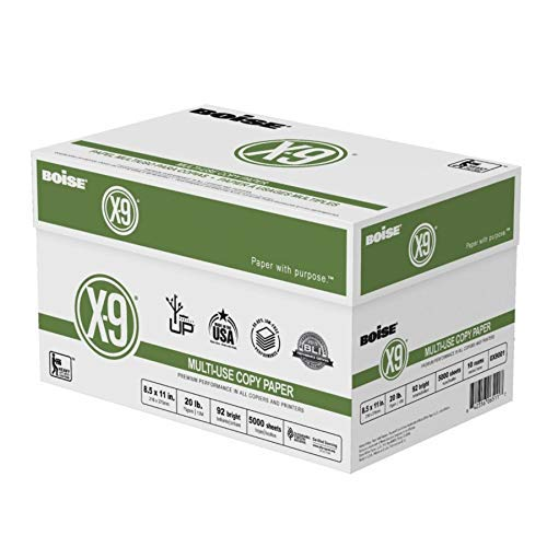 - Boise(R) X-9(R) Paper, 8 1/2in. x 11in, 20 Lb, Bright White, 500 Sheets Per Ream, Case of 10 Reams, OX9001-CTN