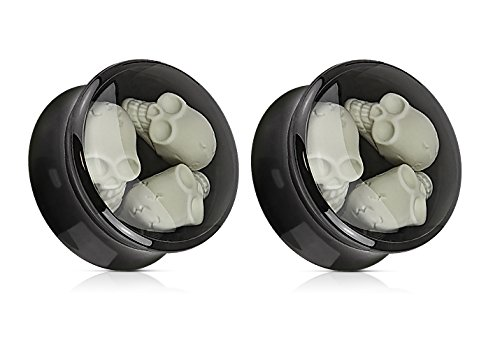 (Triple Skull Inlay Black Acrylic Saddle Plugs - Sold as a Pair (12mm)