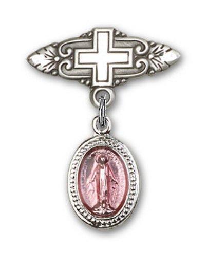 Icecarats Créatrice De Bijoux En Argent Sterling Rose Broche Miraculeuse Badge De Charme Avec Une Croix X 3/4