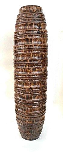Baan Tawai, Chiang Mai, Mango Wood Vase Hand-Crafted, Floor Vase 30 inches (No.009) by WADSUWAN SHOP