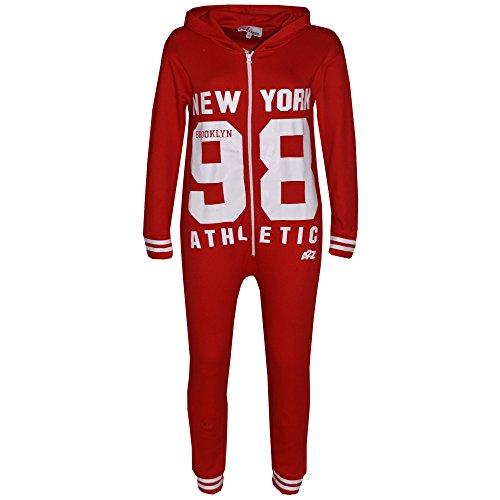 Jumpsuit Rouge 4 Imprimer New 11 Unisexe 9 A2z York Enfants Brooklyn 13 Pj's Tout Kids Garçons Athletic D'été 98 In Ans Une Filles 8 Onesie Âge 7 10 12 TdnfqWn
