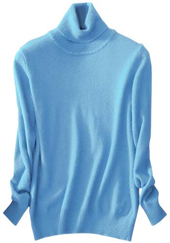 Womens Cashmere Long Sleeve Turtleneck Basic Knit Pullover Sweater, Baby Blue L(12) = Tag 3XL