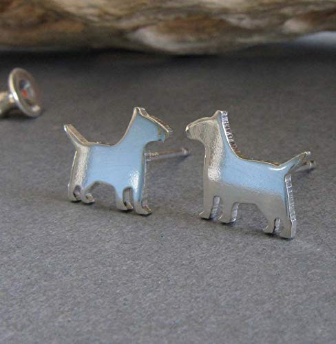 Bull Terrier stud earrings. Polished sterling silver tiny dog jewelry. Handmade in the USA (Terrier Jewelry Earrings)