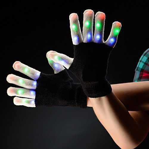 Arcadia Outdoors LED Raving Gloves Flashing Finger Lights 7 Colorful Rave Modes
