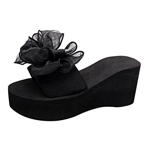 Compensé Plage Chaussons Slippers Casual Frestepvie Plat Femme Mode Chaussures Sandales Simple Fille Confort Noir Espadrilles FxqF7UaSw0