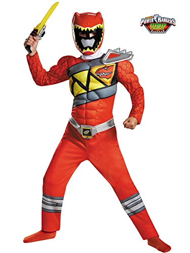 Disguise Red Ranger Dino Charge Classic Muscle Costume, Medium (7-8) -