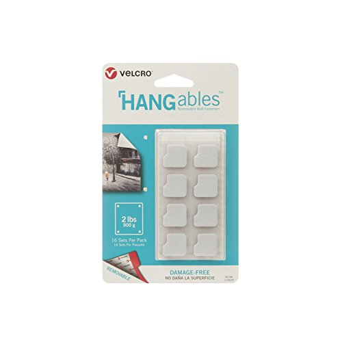 VELCRO Brand - HANGables - Removable Wall Fasteners, Squares - 16 ct