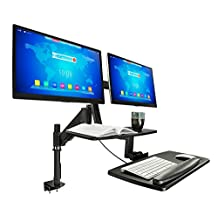 Mount-It! Sit Stand Desk, Standing Desk, Height-Adjustable Sit to Stand Workstation, Monitor, Laptop, and Keyboard Mount, Fits 22, 23, 24, 27 Inch Dual Monitors, C Clamp, Black (MI-7902)