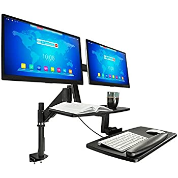 Mount-It! Sit Stand Desk, Standing Desk, Height-Adjustable Sit to Stand Workstation, Monitor, Laptop, and Keyboard Mount, Fits 22, 23, 24, 27 Inch Dual Monitors, C Clamp, Black (Dual Monitor)