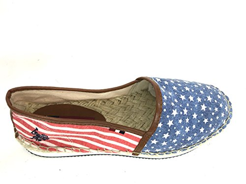 DONNA STRIPES GOMMA DS16UP15 US CORDA ESPADRILLAS SCARPE FONDO POLO STARS AND dxpYzwzq