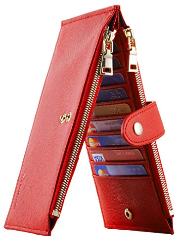 Travelambo Womens Walllet RFID Blocking Bifold Multi Card Case Wallet with Zipper Pocket (CH Red 2177)