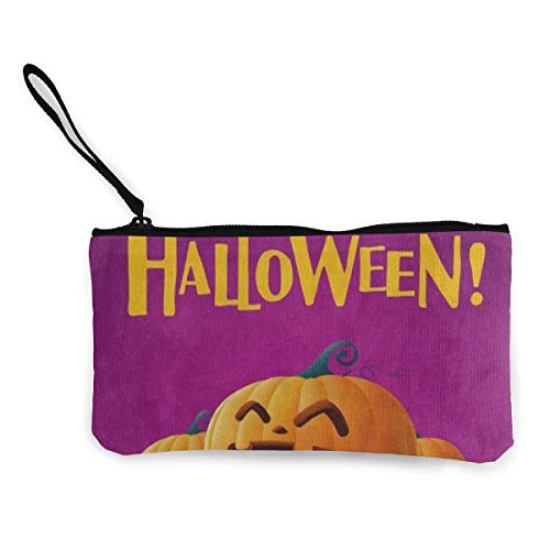 Coin Purse Happy Halloween Pumpkin Smiling Girl Zipper, used for sale  Delivered anywhere in USA