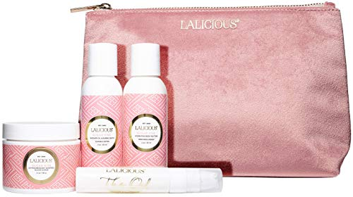 LALICIOUS Sugar Kiss Travel Set - Whipped Sugar Scrub, Shower Gel/Bubble Bath, Body Butter & Body Oil in a Luxe Velour Makeup Bag (4 Piece - Sugar Kiss Lalicious