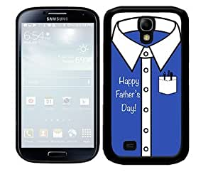 Happy Father's Day Blue and White Button up Shirt 2-Piece Dual Layer High Impact Black Silicone Cell Phone Case Cover Samsung Galaxy S4 I9500