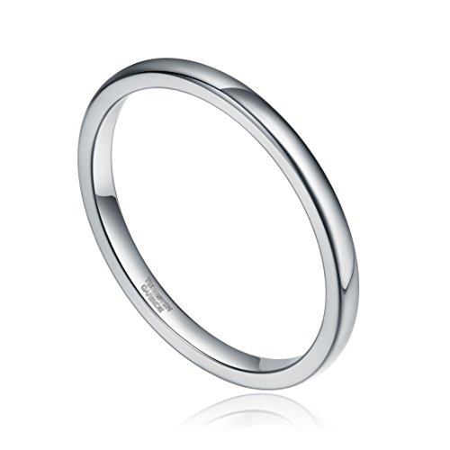 Silver Tungsten Polished Comfort Wedding