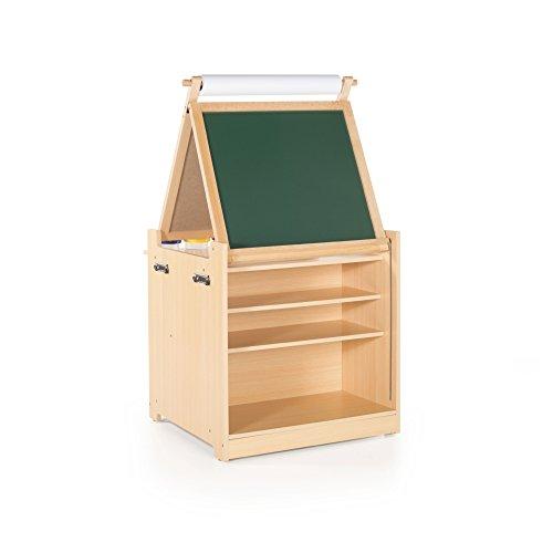 Guidecraft Desk to Easel Art Cart - Chalkboard, Paint Cups, Fabric Bins : Kids Preschool Educational Supply