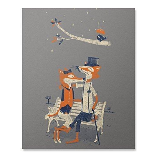 Fox Print Fox Wall Art Animal Artwork Romantic Love Print Home Decor
